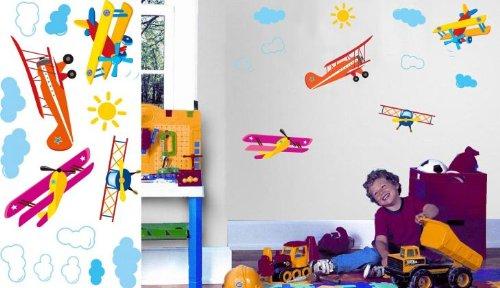 壁紙 ステッカー 飛行機柄 子供部屋用  30X60cm【2個セット】