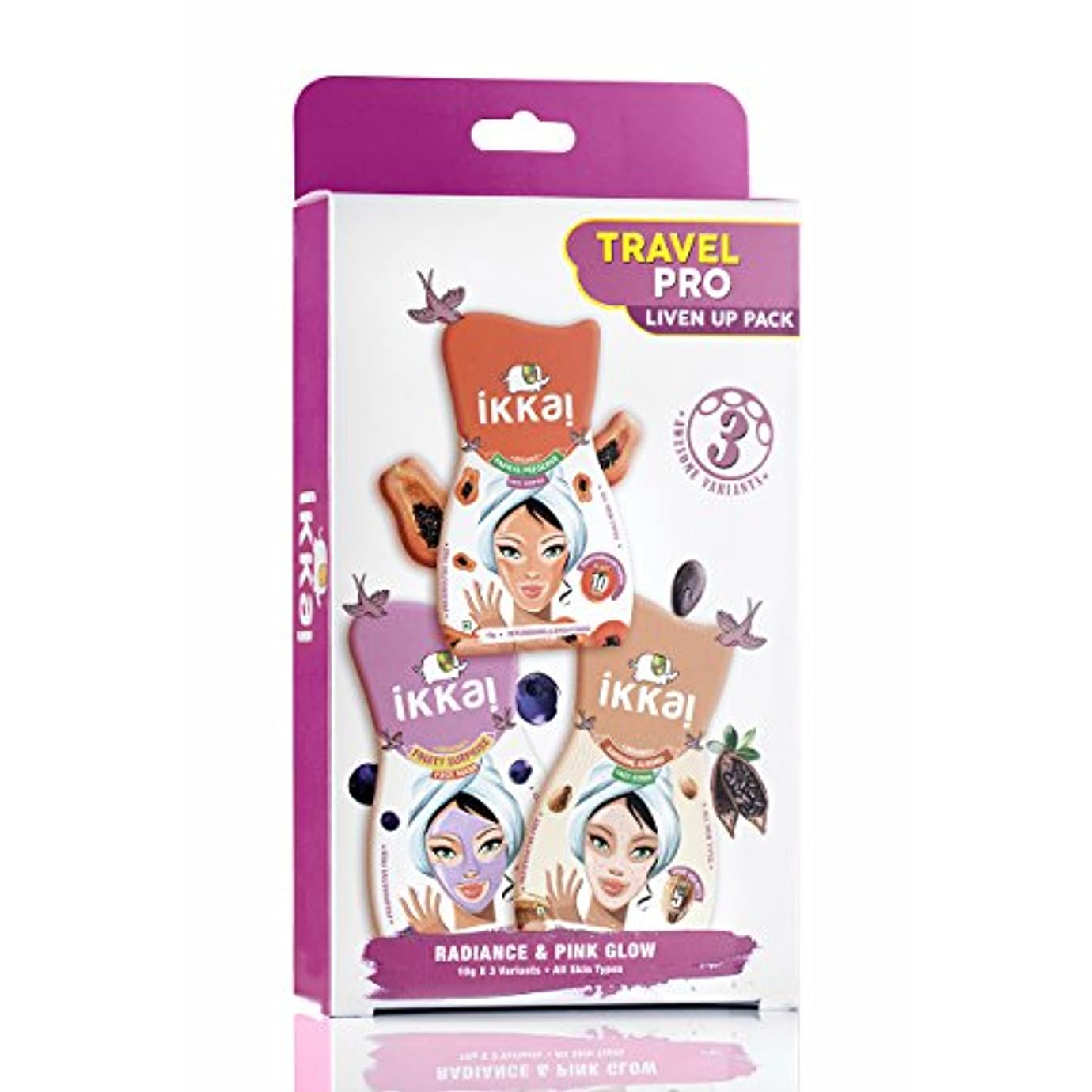 Ikkai by Lotus Herbals Travel Pro Liven Up Pack (1 Face Mask, 1 Face Scrub and 1 Face Souffle)