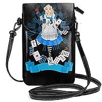レディース い スマホポーチ 財布 携帯電話ポーチ 不思議の国のアリス Alice In Wonderland ショルダーバッグ 肩掛け 斜めがけ カジュアル 勤かばん 小さな ハンドバッグ ショルダーポーチ 可愛 IPhone6 7 8 対応 ミニバッグ