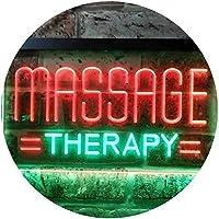 Massage Therapy Dual LED看板 ネオンプレート サイン 標識 Green & Red 300 x 210 mm st6s32-i0364-gr