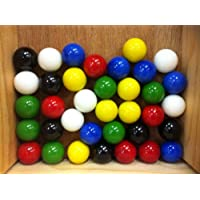 Mega Marbles Set Of 36 2.5cm SHOOTER Marbles Solid Colours (6 Of Each Colour)