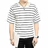 (メイク トゥ ビー) Make 2 Be メンズ ストレッチ ボーダー Tシャツ 5分袖 カットソー 半袖 KB64(13.White typeB_2XL)