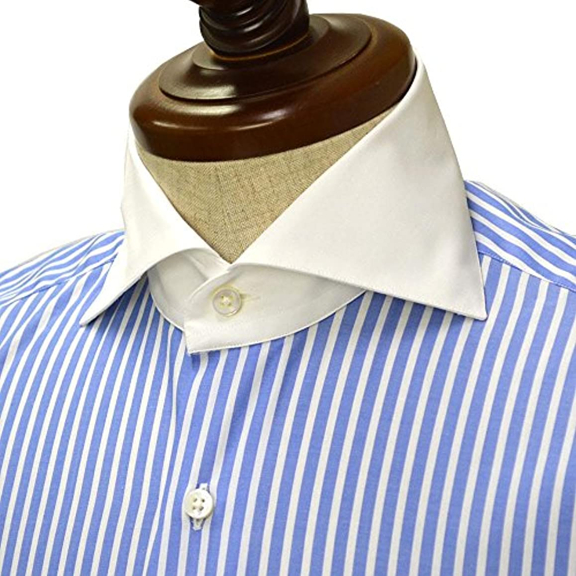 名義で課税ご意見Maria Santangelo【マリアサンタンジェロ】ドレスシャツ VESVIO ENZO 58/10 コットン クレリック ストライプ ホワイト×ブルー(39)
