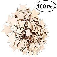 ROSENICE 木材チップ 星 新年会 結婚式 パーティー 撮影用 飾り 100枚セット