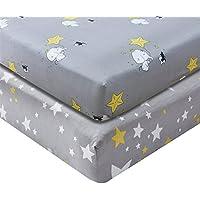 ジャージー綿100 %ベビーベッドシート、トップ品質保育園寝具for Boy or Girl、2パックソフトベビーシャワーギフトグレーでwith Grizzlies and Yellow Stars Gray Elephant グレイ 43188-253851