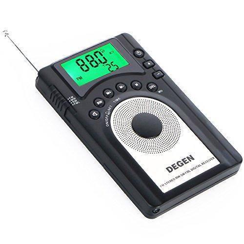 DEGEN DE15 엷음13mm 디지탈DSP포켓 단파 라디오 포터블BCL수신기 FM스테레오/AM/SW 월드 밴드 리시버 ATS 245 국프리 세트 메모리 USB충전 슬립 타이머 알람 고음질 대구경 스피커-DE15