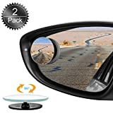 Oumers Blind Spot Mirrors for Cars, 2Pack 360°HD Glass Rotatable Waterproof Frameless Convex Rear View Mirror Side Mirror Blind Spot Universal for Car, Vans, Trucks,Motorbike