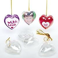 透明ハート型 プラスチックボール オーナメント(12個入り) 母の日やバレンタインデーのパーティに