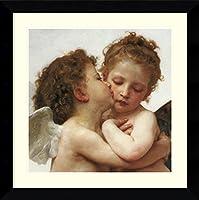 アートフレーム印刷' The First Kiss ' (詳細Square ) by William Adolphe Bouguereau Size: 28 x 29 (Approx), Matted ブラウン 3804709