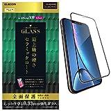 エレコム iPhone XR ガラスフィルム フルカバー 全面保護 フレーム付 【鉛筆硬度9Hより高硬度で、最上級の硬さ】 ブラック PM-A18CFLGGCRBK