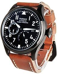 WhatsWatch PARNISパーニス 自動メンズ腕時計 47mmPVDビッグパイロットを見るブラックダイヤルウォッチ パワーリザーブクロノメーターシーガル2530【並行輸入品】