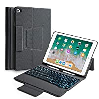 キーボードケース 2017 iPad 9.7インチ第5世代 & iPad Air & 2018 iPad(第6世代)対応 バックライト付きBluetoothキーボード バックハードフォリオカバー アルミニウム合金
