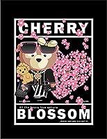 【FOX REPUBLIC】【クマ と 桜】 黒光沢紙(白フレーム付き)A4サイズ