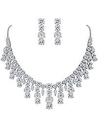 Clearine Women's Wedding Bridal CZ Cluster Leaf Teardrop Statement Necklace Dangle Earrings Set