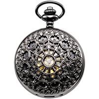 TREEWETO Men's Steampunk Spider Web Skeleton Mechanical Pocket Watch With Chain Gift Box