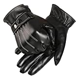 YideaHome 手袋 メンズ ブラックレザー 快適操作 防寒 カシミア 裏起毛 秋冬 バイク 自転車 プレゼントに最適
