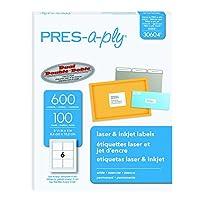 Pres-A-Ply Laser Address Labels, 3-1/3 x 4, White, 600/Box (並行輸入品)