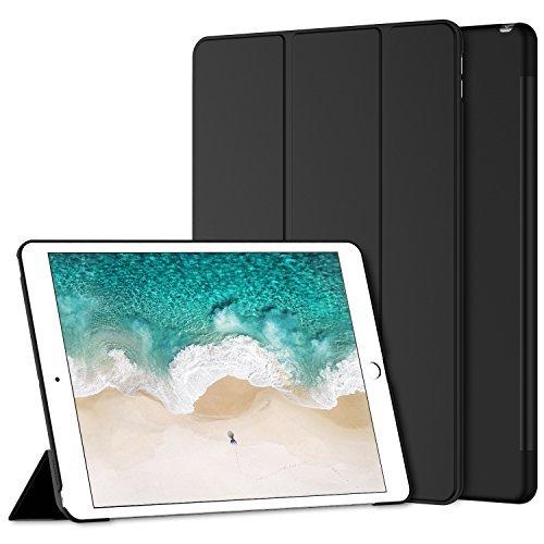 iPad Pro 10.5 ケース, JEDirect 薄型軽量 スリムフィット 本革調PUレザー 傷つけ防止 三つ折スタンド オートスリープ機能 スマートカバー 新しいApple iPad Pro 10.5インチ 2017最新版専用 (ブラック) - 3052