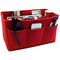 Felt Purse Organizer Insert Handbag Organizer Bag with Large MultiPocket Insert Bag Red