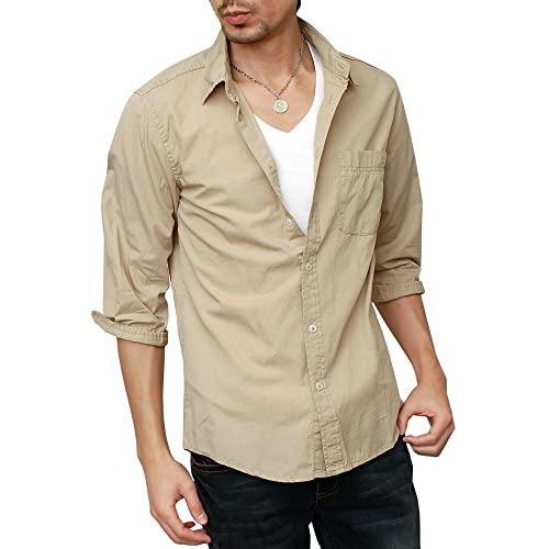 (ハイクオリティプロダクト)High quality product メンズ ブロード7分袖シャツ カラーシャツ 羽織 無地シャツ シンプル コットンシャツ 綿シャツ 白シャツ ドレスシャツ カジュアルシャツ レギュラーカラー