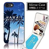 301-sanmaruichi- iPhone8 ケース iPhone7 ケース ミラーケース 鏡付き ミラー付き カード収納 おしゃれ ハワイ パーム ヤシの木 アロハ 海 夕日 波 サーフ 夏 選べる8デザイン A プリント ICカード iPhone6s 6 ケース