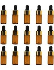 【Rurumi】アロマオイル 精油 小分け用 スポイト キャップ 遮光瓶 セット 茶 ガラス アロマ ボトル オイル 用 茶色 アンバー スポイト付き 瓶 ビン エッセンシャルオイル 保存 詰替え (3ml 15本 セット)
