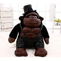 【哲学の部屋】ゴリラぬいぐるみ 動物ぬいぐるみ おもちゃ 可愛いぬいぐるみ 特大 帽子付き80cm/55cm/40cm (55cm)