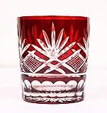 ホリコシ ロックグラス - 径79×90mm 松剣切子ロックグラス赤 6個セット HT36001 6個入 6個セット