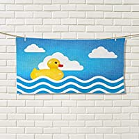 Rubber Duck LargeハンドタオルRubber Duck Taking A Bath With Cloud Over Headユーモラス子供部屋printcuteハンドタオルイエローホワイトブルー 13.7