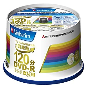 三菱ケミカルメディア Verbatim 1回録画用DVD-R(CPRM) VHR12JP50V4 (片面1層/1-16倍速/50枚)