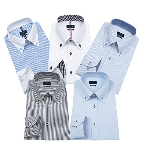 ワイシャツ メンズ 長袖 ボタンダウン 細身 ビジネス シャツ 5枚組入り 多色選択(L,Colour B-5)