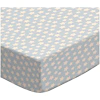 SheetWorld Fitted Sheet (Fits BabyBjorn Travel Crib Light) - Stars Pastel Blue Woven - Made In USA by sheetworld