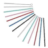 27cm Long Reusable Plastic Replacement Drinking Straws for 890ml & 590ml Yeti, RTIC, Mason Jar, Starbucks, Tervis, Ninja OZARK Tumblers, Set of 12 with Cleaning Brush