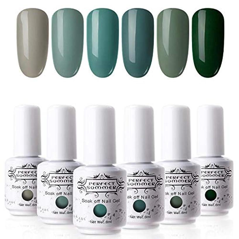 ヒール心配媒染剤ジェルネイル カラージェル 8ml 6色セット UV/LED対応 ポリッシュタイプ 抹茶グリーン