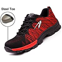 Safety Shoes, Steel Toe Cap Trainers Lightweight Mens Womens Safety Shoes Work Midsole Protection,35/EU