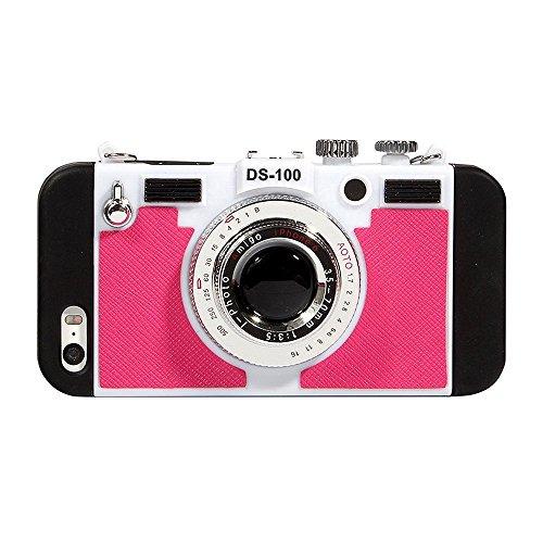 立体カメラ型 iPhoneケース iphone6 iPhone6s iPhone6Plus ネックストラップ付 (iphone6/iPhone6s, ローズ)