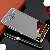 Huawei Mate8 Case, Very Light Slim Reflective Make-Up Plated Mirror Cover With Metal Bumper, WEIFA Newest Super Cool 2 In 1 Protection Combined CellPhone Case For Huawei Mate 8 Black