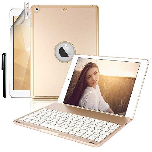 Boriyuan iPad 9.7インチ用 キーボードケース スリムフィット ハードシェル 保護ケース 7色のバックライト Bluetooth ワイヤレスキーボード用カバー iPad 9.7インチ 2017年モデル対応 (Proには非対応) ゴールド 9.7 Inch ゴールド
