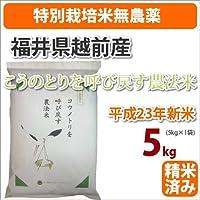 ≪特別栽培米無農薬≫福井県越前産「こうのとりを呼び戻す農法米」5kg