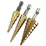 FUT(エフュ ト) HSS鋼チタンステップドリル3本セット 5段/9段/10段六角軸タケノコドリル DIY電動工具チタンドリル