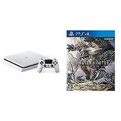PlayStation 4 グレイシャー・ホワイト 500GB (CUH-2100AB02) + モンスターハンター:ワールド (【数量限定特典】防具「オリジンシリーズ」と「追い風の護石」が手に入るプロダクトコード 同梱)  セット