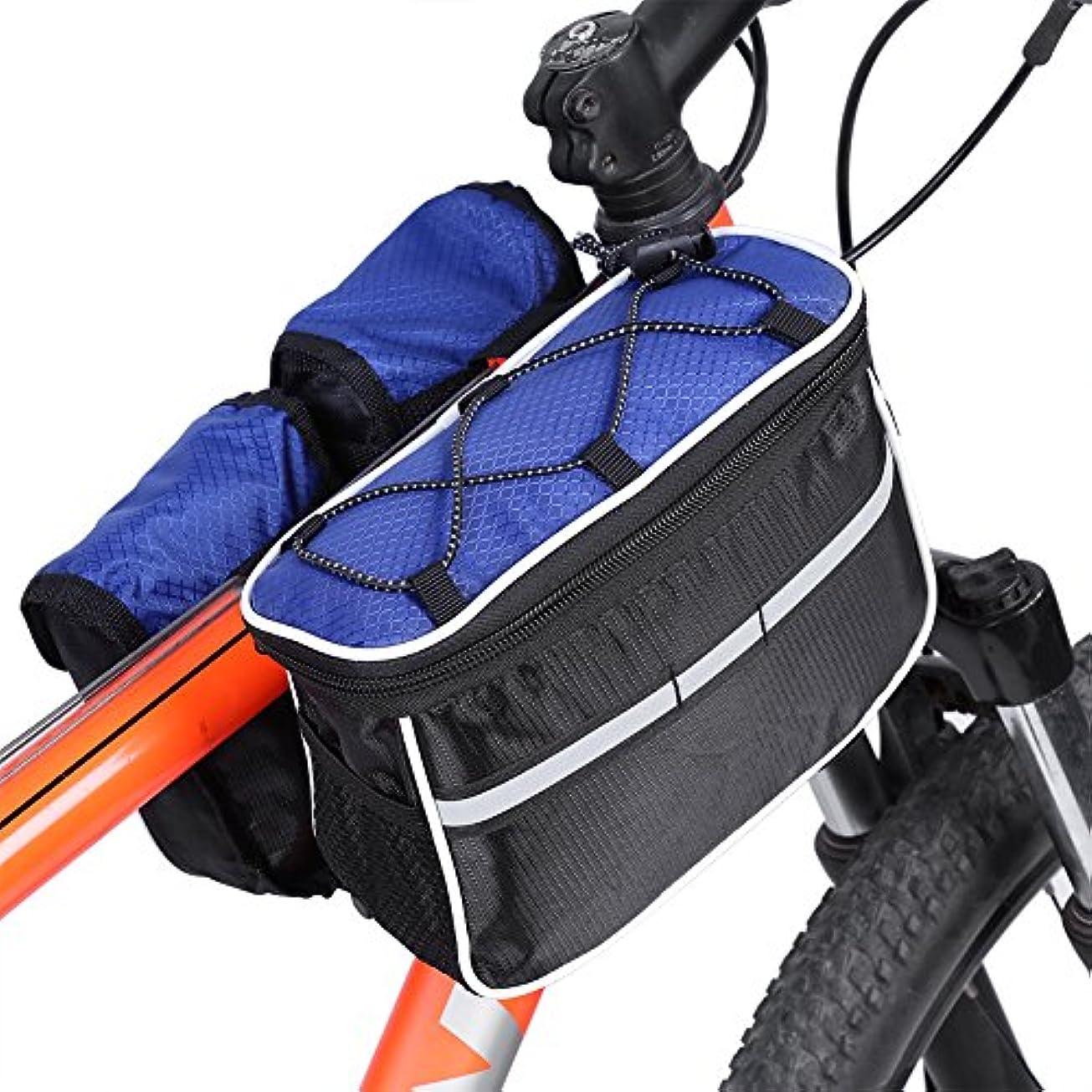 予報スリンク外向き自転車 ハンドルバッグ フレーム フロント ハンドルバーバッグ 防水 耐摩耗 大容量 反射 トップチューブ ウエストバッグ 自転車用バッグ 雨カバー付き(青)