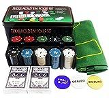 VIEAURA ポーカーセット チップ 200枚 ポーカーマット トランプ 2セット 金属ケース