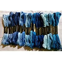 綿 25番刺繍糸 DMCと同じ色番号 青21色25本Bセット クロスステッチ、ミサンガ等に最適(青B) 【並行輸入品】