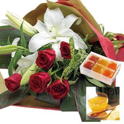 誕生日 お祝い の 花 お 花 と スイーツ おしゃれ ギフト セット 豪華 ユリ レッドバラ 花束 と 国産野菜とフルーツの無添加ゼリー詰合せ 6個 メッセージカード 還暦祝い 結婚祝い 古希 喜寿 人気 プレゼント ランキング ギフト (SE)