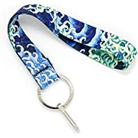 Buttonsmith Hokusai Waves Wristlet Key Chain Lanyard - Short Length with Flat Key Ring and Clip - Made in The USA