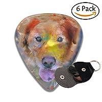 ギターピック ドッグ犬スプラッタペインティング セルロイド ピック 3つの厚さ Thin 0.46mm Medium 0.71mm Heavy 0.96mm 6枚セット収納ケース付き
