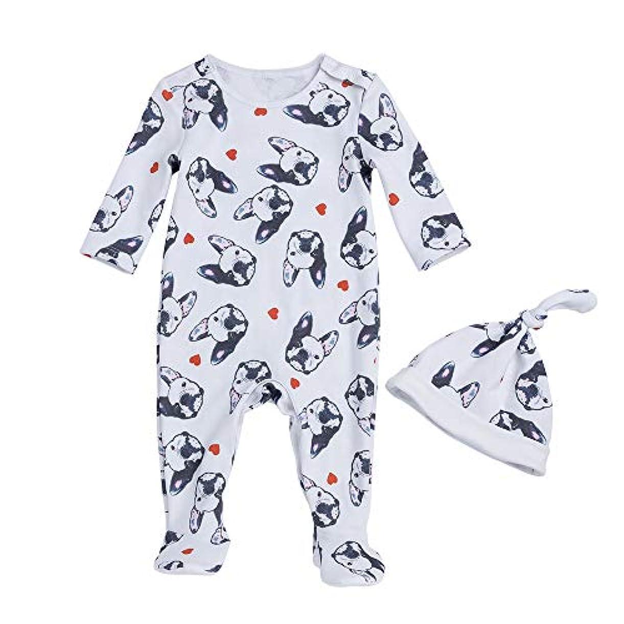Liyukee - 赤ちゃん暖かいロンパー、帽子、ジャンプスーツの服下着セット秋の服ホームコスチューム0-24ヶ月に適して新生児の幼児少女 (3-6m)