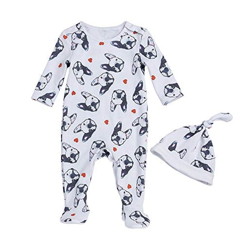 スペル遊びます柔らかいLiyukee - 赤ちゃん暖かいロンパー、帽子、ジャンプスーツの服下着セット秋の服ホームコスチューム0-24ヶ月に適して新生児の幼児少女 (3-6m)