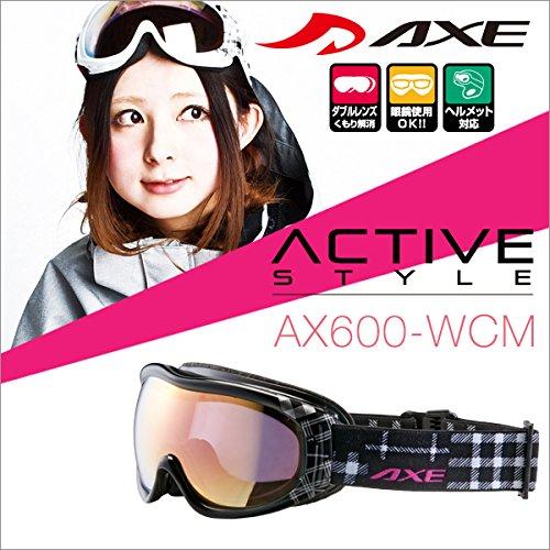 『50ga-012-ca』 15-16 アックス AX600-WCM BK スノーボードゴーグル スキー ゴーグル AXE スノーゴーグル 2015-2016 ダブルレンズ メガネ対応 曇り止め機能付き ヘルメット対応